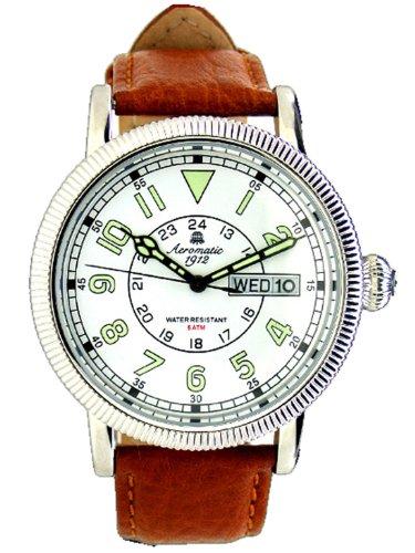 Aeromatic 1912 Reloj Retro de Acero Inoxidable de Piloto Alemán Day-Date A1313