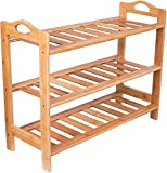 BIRDROCK HOME 3 Tier Free Standing Shoe Rack with Handles - Bamboo - Wood - Closets and Entryway - Organizer - Fits 9 Pairs of Shoes