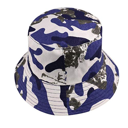 Bucket Hat Chapeau Army Green Blue Red Camouflage Print Bucket Hat Fisherman Caps Homme Femme Bleu