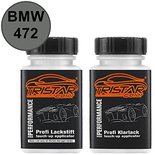 TRISTARcolor Autolack Lackstift Set für BMW 472 Sterlinggrau Metallic/Liquidsilber Metallic Basislack Klarlack je 50ml