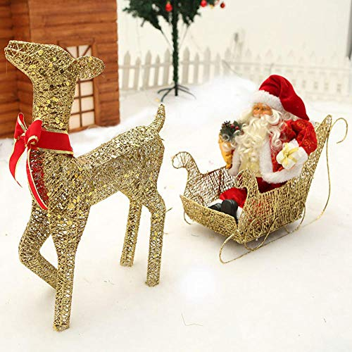 YWZQ Light Up Glitter Reindeer with Santa Sleigh LED Fairy Light Warm White Metal Iron Frame Hemp Wire for Indoor Outdoor Christmas Lights Decorations,Gold