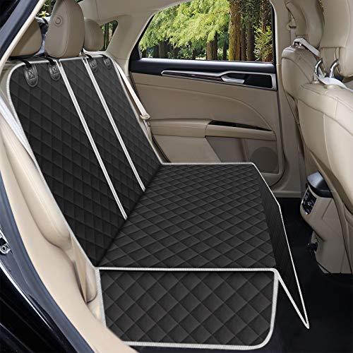 Alfheim Fundas de asiento de coche para perro, impermeables y antideslizantes, resistente a los arañazos, protector de asiento trasero lavable universal para coche, camiones, SUV (negro)
