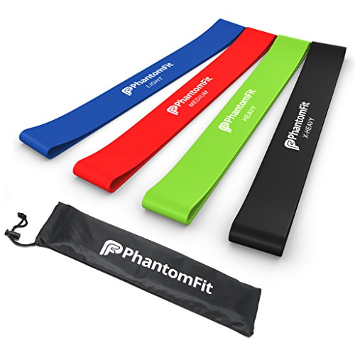 Phantom Fit Resistance Loop Bands - Set of 4 - Best Fitness Exercise Bands for Working Out or Physical Therapy