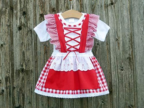 Rotes Taufkleid, Babysuit mit Dirndl, Hochzeit mit Baby, Kleid für Festlichkeiten, Brautmädchen rot-weiss-kariert, romantisches Taufgeschenk,