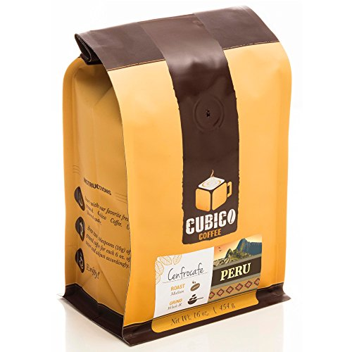 Peru Coffee - Ground Coffee - Freshly Roasted Coffee - Cubico Coffee - 16 Ounce (Single Origin Organic Cenfrocafe Peruvian Coffee)