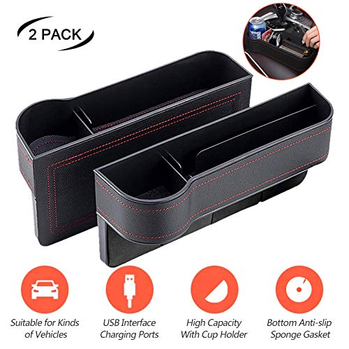 Car Storage Box Multifunctional Cup Holder Leather Car Seat Gap Organizer 2Pcs Side Pockets Box Slot Car Gap Filler with USB Charging Central Console Driver Extra Storage for Cellphones, Key