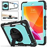 iPad 7th Generation Case, New iPad 10.2 Case [Full-body] & [Shock Proof] Hybrid Armor Protective Case with 360 Rotating Stand & Strap for 10.2 New iPad 7th Generation 2019 (Skyblue+Black)