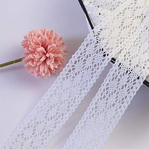 DAHI spitzenband 10 Meter Vintage Spitzenbordüre Zum Nähen für Hochzeit Tischdeko Basteln Geschenkband Kraftpapier (Weiss)