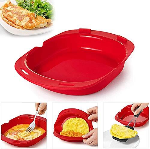 電子レンジオムレツメーカー、すばやく簡単な朝食セット-エッグロールを作るのに油やバターは必要ありません、シリコンオムレツツール (2Pcs)