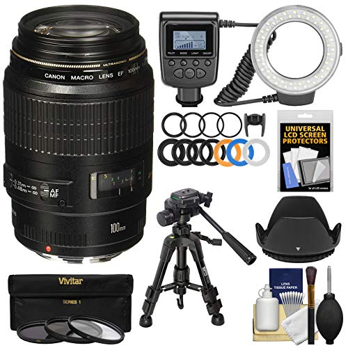 Canon EF 100mm f/2.8 Macro USM Lens with Ringlight + Tripod + Hood + 3 Filters Kit for EOS 6D,...