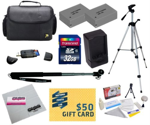 """47th Street Photo Best Value Point & Shoot Enthusiast Accessory Kit for Canon Powershot G15, G16, G1 X Digital Camera Includes 2 Extended Replacement NB-10L Battery + AC/DC Travel Charger + Self Portrait Monopod + 54"""" Compact Professional Photo / Video Tripod + Mini tripod + 32GB Transcend High Speed Error Free SDHC Memory Card + USB 2.0 Card Reader + Deluxe Carrying Case + Screen Protectors Photo Print ! Deluxe Cleaning Kit + More"""