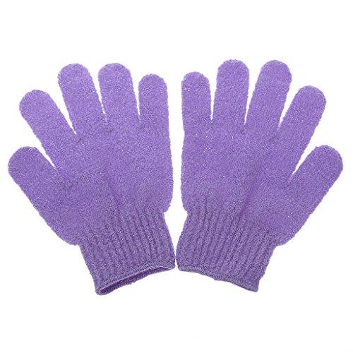 1 Paire Gant de Bain Exfoliant Soins de La Peau Massage Nettoyage Douche - Violet