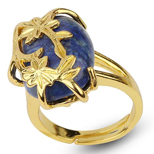 adjustable ring for women,Golden flower leaf inlaid oval natural Lapis Lazuli Aura Stone Charm Adjustable Open Knuckle Tail Ring Finger Joint Toe Ring Jewelry for Women Girls Gift Wedding engagement