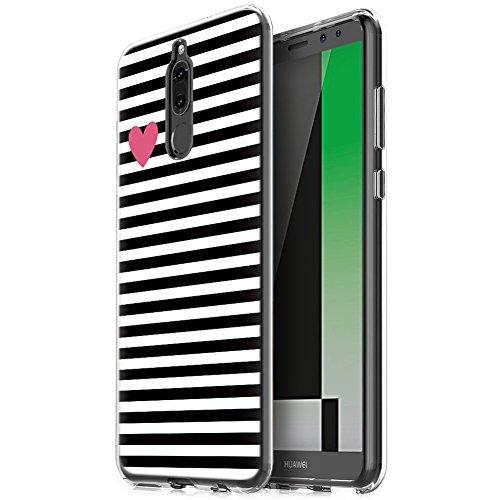 Eouine Cover Huawei Mate 10 Lite, Ultra Slim Protective Cover Trasparente con Disegni, Morbido Antiurto 3D Cartoon Gel Bumper Case Custodia in TPU Silicone per Huawei Mate 10 Lite (Stripe Nero)