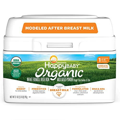 Happy Family Baby Organic Infant Formula Milk Based Powder with Iron Multi Oz, Stage 1, 21 Ounce