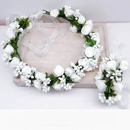 Schneespitze Rosa Fiore Fascia per Capelli,Decorazione della Cerimonia Nuziale,Copricapo Accessorio,Ghirlanda Nuziale,Cinturino da Polso da Sposa
