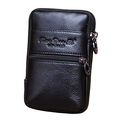 Xieben Cinturón del Teléfono De Cuero Holster Bolsa De Cintura para Hombres Mujeres Viajar Al Aire Libre Camping Teléfono Bum Fanny Pack Monedero Titular De La Cartera para iPhone 8/7 Plus Negro