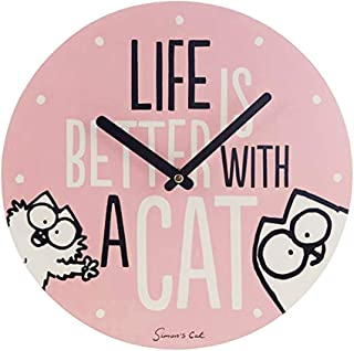 Pyramid Z890810 Simon's Life is Better with A Cat Wall Clock, Multi-Colour