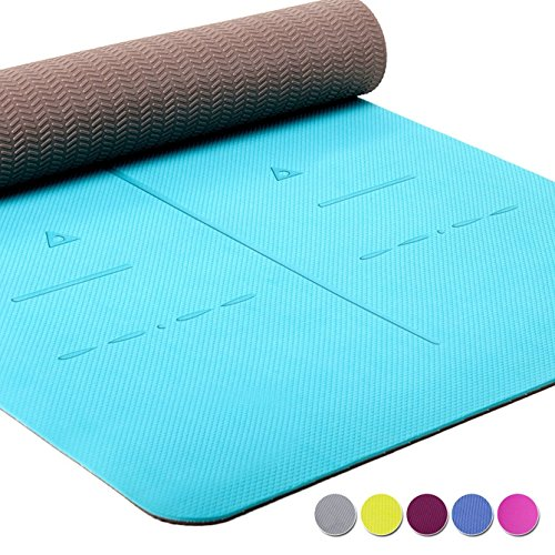 Heathyoga Eco Friendly Non Slip Yoga Mat, Body Alignment System, SGS Certified TPE Material - Textured Non Slip Surface and Optimal Cushioning,72'x 26' Thickness 1/4'