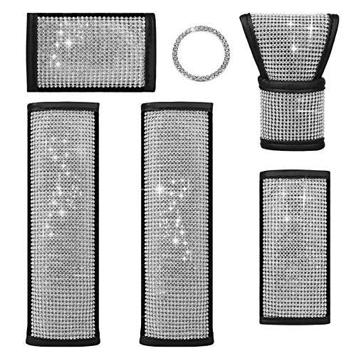 6PCS Car Accessories For Women Interior, 2 Bling Seat Belt Shoulder Pads,...