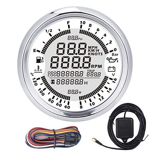 EBTOOLS Velocímetro GPS para barco, 6 en 1 85 mm/3,3 pulgadas, medidor de barco para coche, velocímetro GPS para camión, medidor de velocidad LCD digital, tacómetro 0-10 bar
