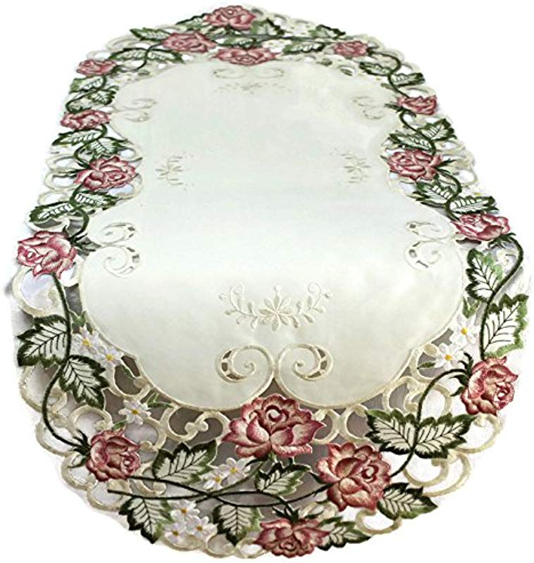 Doily Boutique Table Runner Embroidered With Victorian Pink Roses On Ivory Fabric Size 54 X 15 Inches
