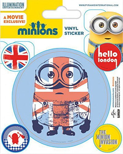1art1 Les Minions Poster-Sticker Autocollant - Hello London, The Minion Invasion (12 x 10 cm)