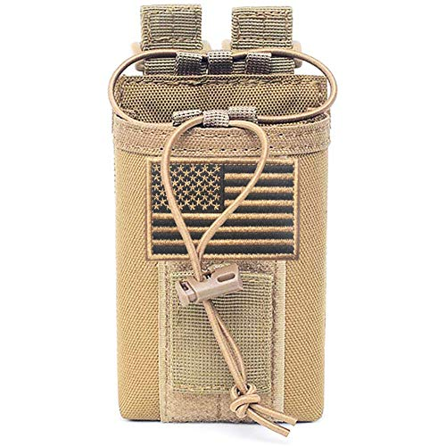 JSVDE Tactical Radio Holder Molle Radio Pouch Case Heavy Duty Radios Holster Bag for Two Ways Walkie Talkies Adjustable Storage with 1 Pack Velcro (Army Tan)