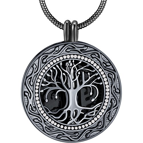 Memorial Gifts - 'Always in My Heart' Black Urn Locket Pendant Necklace - 'Tree of Life' Cremation Jewelry for Ashes - Keepsake for Sister Grandma Aunt Wife Daughter Mom Dad