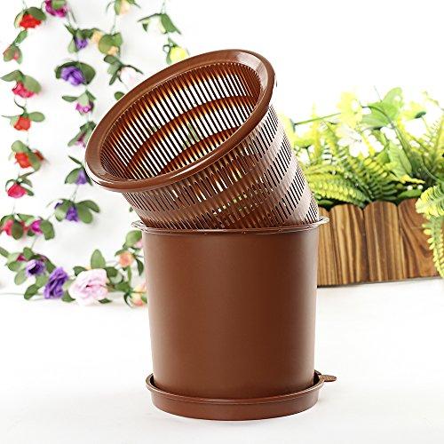 Cozyhoma Pot à orchidée - 20,3 cm - Pot de fleurs rond en plastique - Pour le jardinage et les plantes d'intérieur