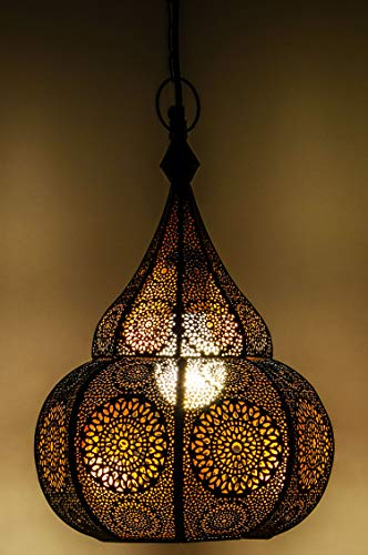 Lámpara Oriental Marroquí - lamparilla colgante - farola de techo Ilham - 40cm - muy práctica para una iluminación excelente - transmite una decoración excelente refinada