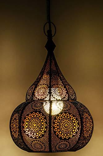 Orientalische Lampe Pendelleuchte Schwarz Ilham 40cm E27 Lampenfassung | Marokkanische Design Hängeleuchte Leuchte aus Marokko | Orient Lampen für Wohnzimmer Küche oder Hängend über den Esstisch