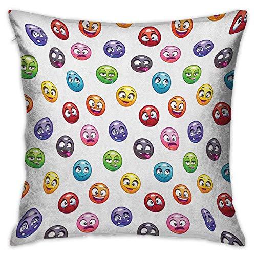 N\A Emoji Square lustige Kissenbezug Cartoon Gesichter emotionalen Zuständen weinen glückliche Zunge in Wange mehrfarbige Kissenbezüge Kissenbezüge für Sofa Schlafzimmer Auto