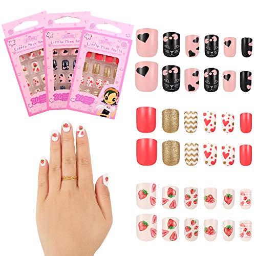 metagio 72 Stück Nägel Zum Aufkleben für Kinder, Selbstklebende Künstliche Fingernägel Set Falsche Kunstnägel für Mädchen Kleinen Händen Damen, Geschenk für Mädchen