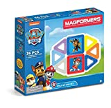 Magformers Paw Patrol 36 Pieces Pull Up Pup Set, Rainbow Colors, Educational Magnetic Geometric Shapes Tiles Building STEM Toy Set Ages 3+