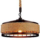 Lámpara pendiente de la lámpara de la vendimia cáñamo Cuerda, retro Industrial Hierro Loft lámparas del metal del sostenedor de vela de techo Luces del hierro redondo jaula lámpara colgante
