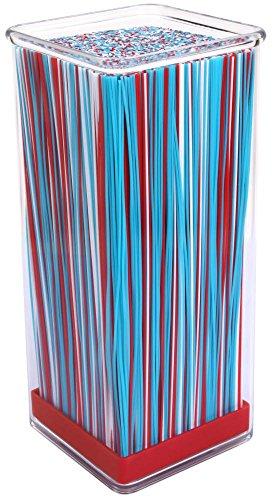 Culinario Messerblock aus Acryl mit farbigem Borsten-Einsatz, in rot, 10 x 10 x 22,5 cm