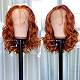 Orange Lace Front Wigs with Baby Hair Glueless Short Body Wave Synthetic Lace Front Bob Wig Free Part Natural Hairline Heat Resistant Fiber Wig for Women(14 Inch)