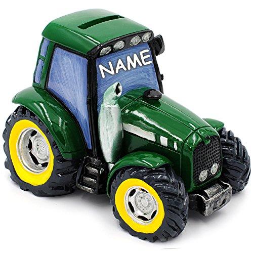 alles-meine.de GmbH große Spardose -  Traktor / Landmaschine - Fahrzeug - grün  - inkl. Name - stabile Sparbüchse - aus Kunstharz / Polyresin - Geld Sparschwein - Kaffeekasse /..
