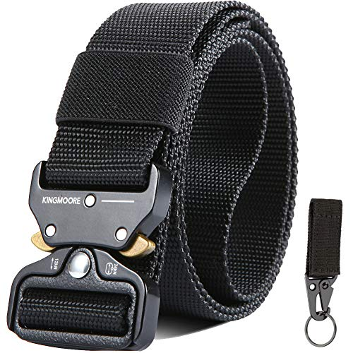 "KingMoore Mens Tactical Belt, Military Style Webbing Riggers Web Gun Belt with Heavy-Duty Quick-Release Metal Buckle (Waist:30""-35"", Black)"