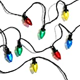 C7 LED String Lights, Multicolor - 50 Count, 29 Feet, Battery Powered, Waterproof Outdoor Decoration, Timer Feature, Vintage Style Bulbs, Multi Colored with Green Wire, Batteries Included