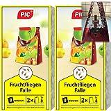 PIC - Fruchtfliegenfalle, Obstfliegenfalle und Essigfliegenfalle - 2 Lockstoffbehälter mit 4 Leimfallen für