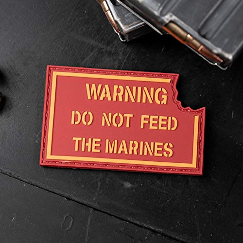 NEO Tactical Gear Warning Do Not Feed The Marines PVC Morale Patch with Hook Backing and Matching Loop Piece
