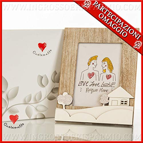 Cuorematto Wooden Rectangular Photo Frame with House, Hills and Trees, Original Online Wedding Favours, Gift Box Included (Green Box)