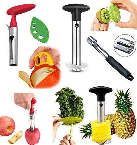 COMBO PACK - Apple Corer, Pineapple Slicer, Pear Pepper Poker, Herb Kale Stripper, Kiwi Tool, Citrus Orange Peeler SUPER SLICER Juicer Prepping PACK by Bright Kitchen