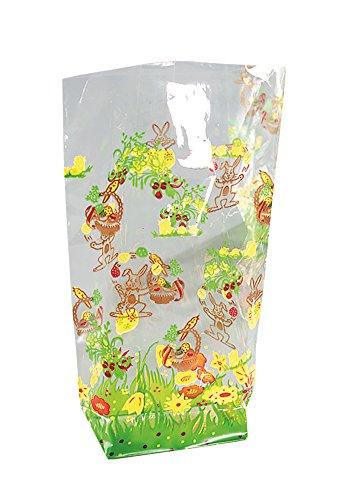 folia 252 - Zellglasbeutel mit Osterdruck, ca. 14,5 x 23,5 cm, 10 Stück - zum individuellen Verpacken von Keksen, Süßigkeiten und vielem mehr