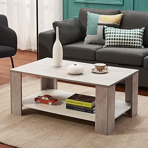 2 Tier Wood Coffee Table Side Table Bottom Storage Shelf Simple Modern Oak&White Tea Table