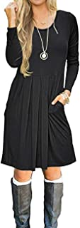 Womens Long Sleeve Pleated Loose Swing Casual Dress with Pockets Knee Length