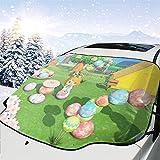 人気 フロントガラスカバー あつまれ どうぶつの森8 (5) 凍結防止シート 車用サンシェード 遮熱 内蔵吸盤 強力付着 防風 防水 取付簡単 四季通用