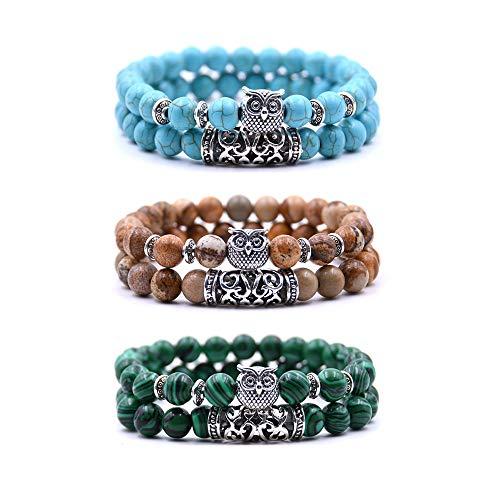 crintiff - Trois Bracelets Chouette en Perles avec tête de Hibou - Bracelets Porte Bonheur - Couleurs Marron, Vert et Turquoise
